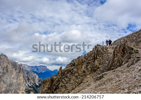 Climbing Passo delle Cigolade in the Dolomites mountains of northern Italy