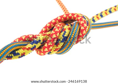 climbing rope knot isolated on white - stock photo