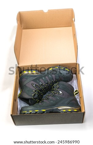 Climbing shoes new in box - stock photo