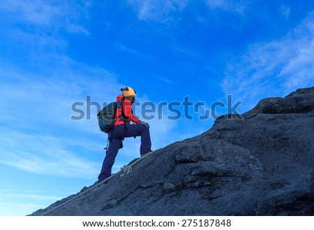 climbing the mountain - stock photo