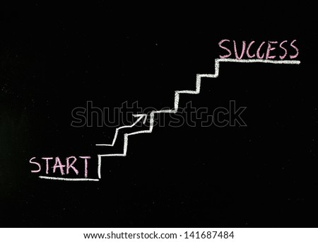 climbing the stairs to success drawn on a chalkboard - stock photo