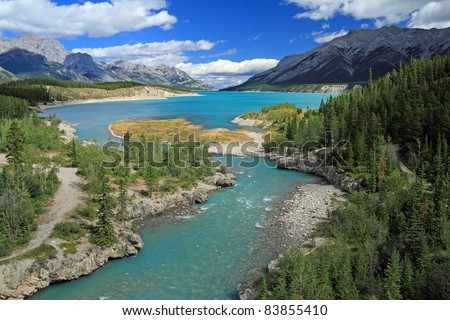 Cline River Winding Through the Kootenay Plains Wildlife Refuge, Alberta, Canada