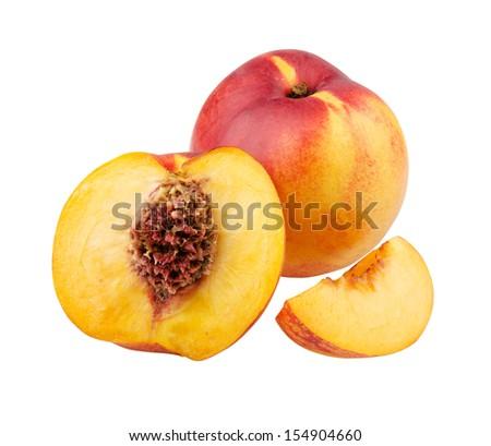 clingstone, whole and nectarine segment - stock photo