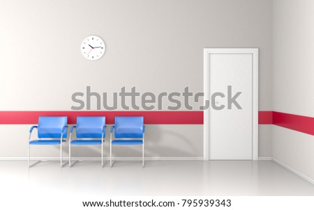 Clinic waiting room with wall clock and red line on white wall 3D render