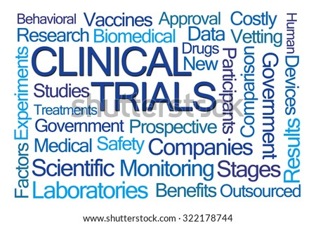 Clinical Trials Word Cloud on White Background - stock photo