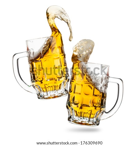 Clink glasses of beers with a splash isolated - stock photo