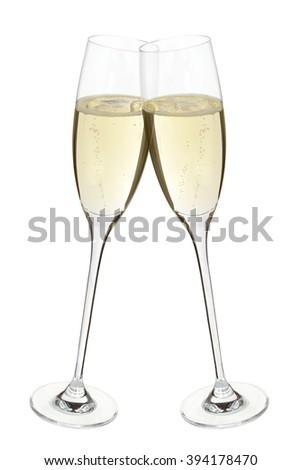 Clinking champagne glasses - stock photo