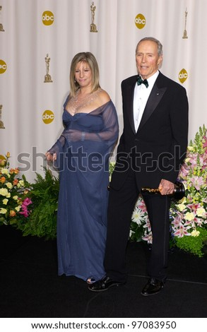 CLINT EASTWOOD & BARBRA STREISAND at the 77th Annual Academy Awards at the Kodak Theatre, Hollywood, CA February 27, 2005; Los Angeles, CA.  Paul Smith / Featureflash