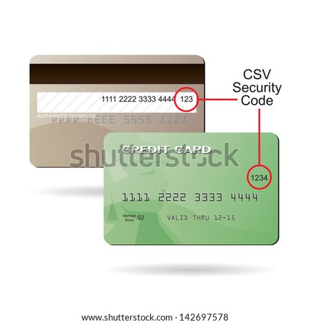 Clip art diagram of where the CSV security code is located on a typical credit card. This EPS 10 vector is fully customizable to suit your needs. - stock photo