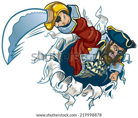 Clip Art Illustration of a cartoon pirate ripping out of the background, brandishing a cutlass. Makes a great mascot!