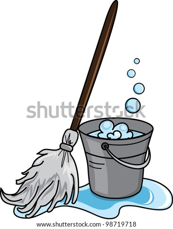 Clip art illustration of a cleaning bucket filled with soapy water and a mop. - stock photo