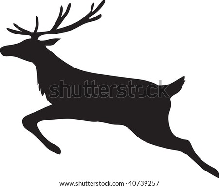 clip art illustration of a male reindeer running.