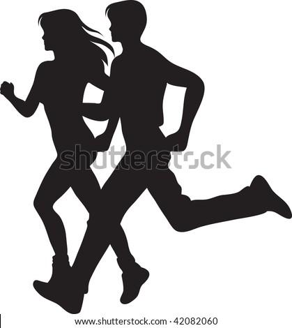 clip art illustration man woman running stock illustration 42082060 rh shutterstock com clipart woman running free clipart woman running away