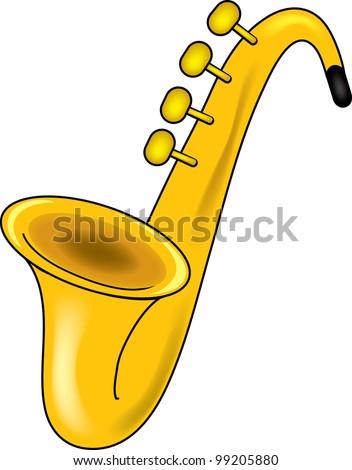Clip Art Illustration of a saxophone. - stock photo