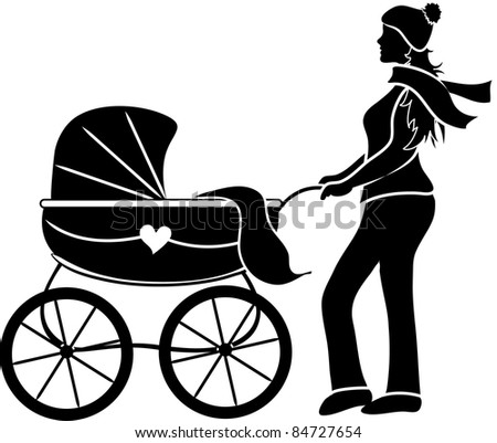Clip art illustration of a young mother pushing a baby carriage silhouette. - stock photo