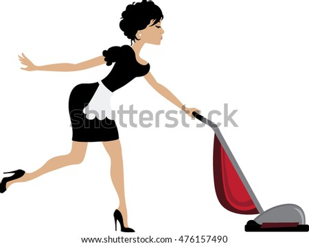 Clip art image of a sexy brunette maid vacuuming.