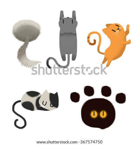 Clip Art Set isolated on White Background: Cat Climb, Cat Sleep, Cat Scratch. Realistic Fantastic Cartoon Style Artwork Scene, Wallpaper, Story Background, Card Design