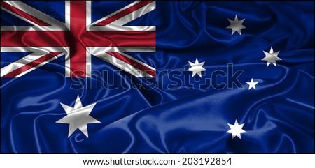 Clip Art Waving National Flag Of Australia - stock photo