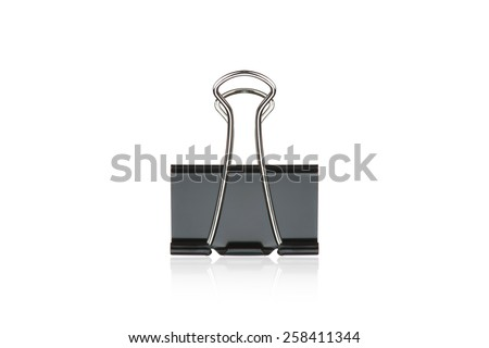 Clip black for document or paper clip attachment - stock photo