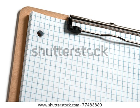 Clip board with grid paper and white  border