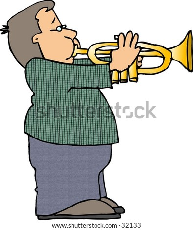 Clipart illustration of a boy playing a trumpet
