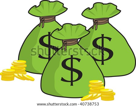 clipart illustration bunch money bags golden stock illustration rh shutterstock com Money Bag Clip Art Black and White Money Bag Clip Art Black and White
