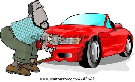 Clipart Illustration Man Checking Car Crash Stock Illustration ...