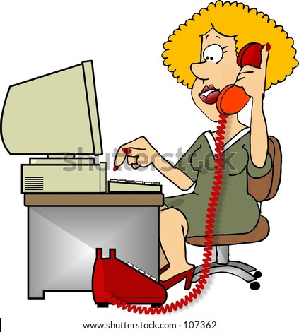 Clipart illustration of a woman on the phone