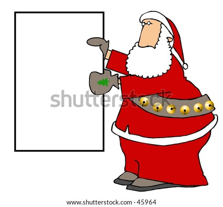 Clipart illustration of Santa holding a blank sign
