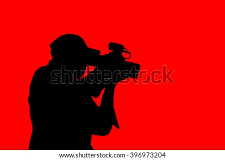 clipart photographer on red background