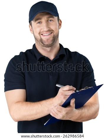 Clipboard, african, mechanic. - stock photo