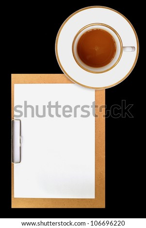 clipboard and cup of coffee on black background - stock photo