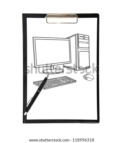 clipboard and drawing computer  on a white background - stock photo
