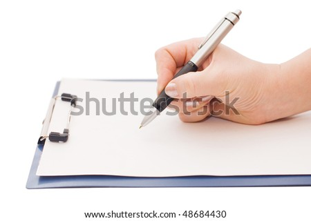 clipboard and hand on a white background - stock photo