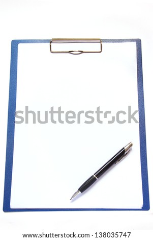 Clipboard and pen isolated on white background.