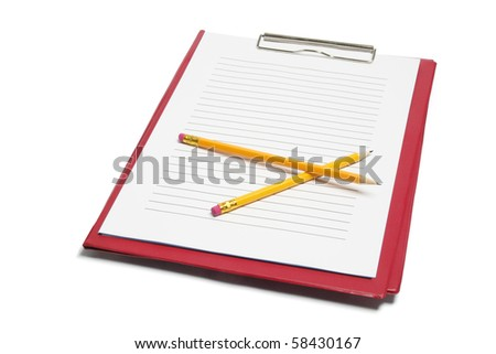 Clipboard and Pencils on White Background