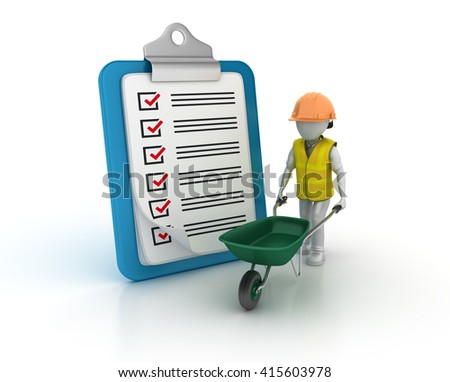 Clipboard Check List with Wheelbarrow and Construction Character on White Background  - High Quality 3D Render   - stock photo