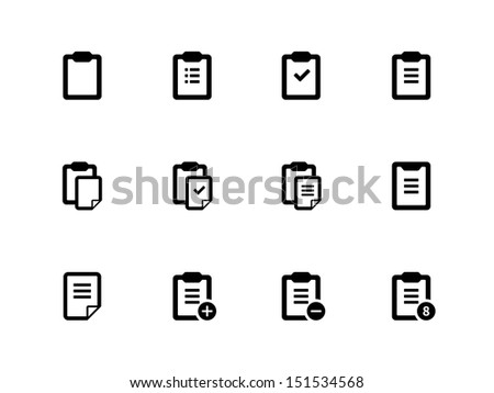Clipboard icons on white background. See also vector version. - stock photo