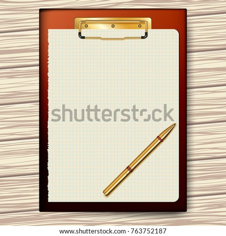 Clipboard, paper sheet, golden pen on a background of a wooden texture for business planning, to-do list.