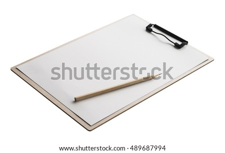 Clipboard, pencil white background