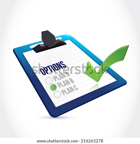 clipboard plan check mark illustration design over a white background - stock photo
