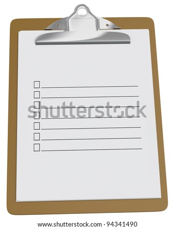 Clipboard with blank checklist on a white background