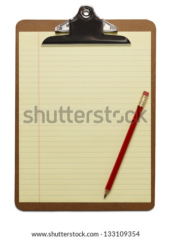 Clipboard with blank line paper and red pencil on isolated background.