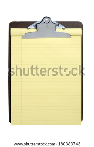 Clipboard with blank notepad on white background