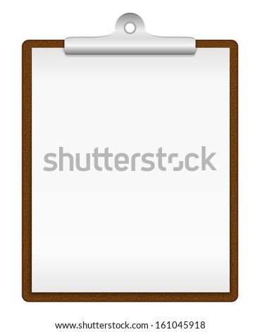 Clipboard with blank paper - stock photo