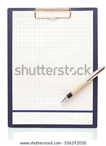 Clipboard with blank paper and pen on a white background - stock photo