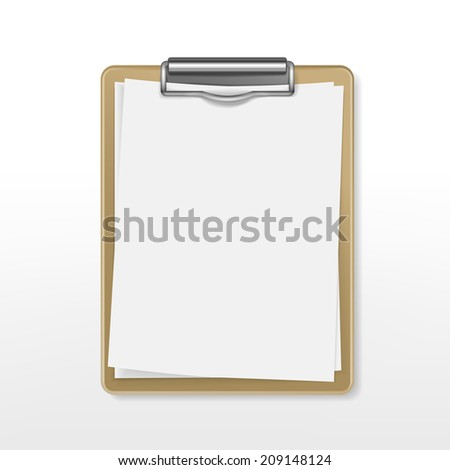 clipboard with blank paper over white background - stock photo