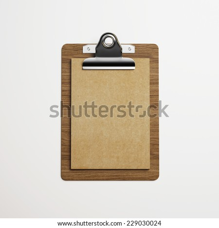 Clipboard with brown vintage paper on light background