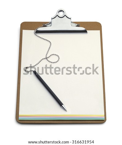 Clipboard with Carbon Copy Form and Pen Isolated on White Background. - stock photo