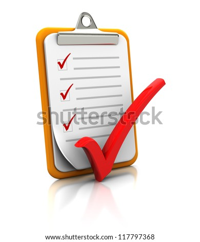 Clipboard with checklist on white background, 3d image - stock photo